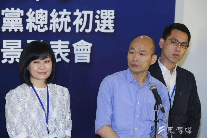 綠營臉書社團想反串民調,幫高雄市長韓國瑜(中)在藍軍總統初選出線。(資料照,新新聞柯承惠攝)