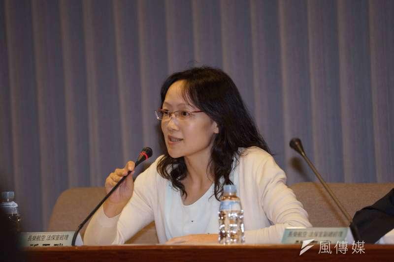 20190701-長榮航空針對629協商爭議說明,法保室經理祈天瑞發言。(盧逸峰攝)