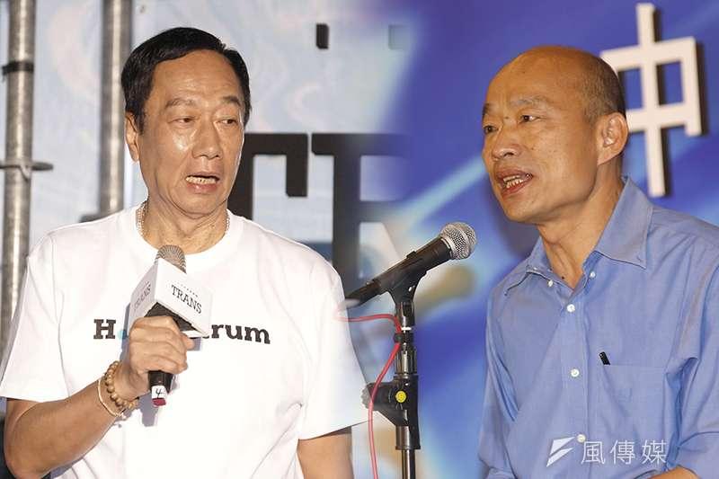 國民黨初選民調,綠營喊燒。圖為郭台銘(盧逸峰攝)+韓國瑜(新新聞郭晉瑋攝)