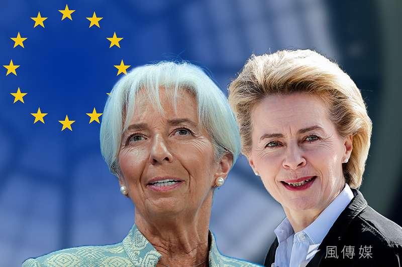 德國國防部長馮德萊恩(右)被提名出任歐盟執委會主席,將成為史上首位女性歐盟執委會主席;國際貨幣基金總裁拉加德(左)被提名執掌歐洲央行(照片:美聯社、Pixabay。製圖:風傳媒)