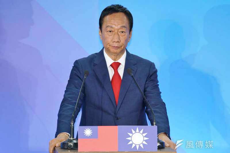 郭台銘在國民黨國政願景發表會上,提出0-6歲國家養的政策。(資料照,盧逸峰攝)