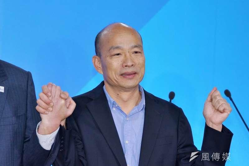 總統蔡英文在青年支持度狂勝高雄市長韓國瑜(見圖),綠營有一派因此認為「韓國瑜出線比較好打」。(資料照,盧逸峰攝)