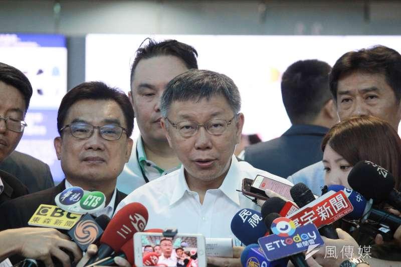 20190703-台北市長柯文哲3日率團搭機前往上海參加雙城論壇 ,於行前受訪。(方炳超攝)