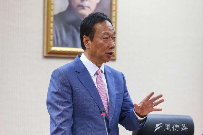 國民黨總統初選參選人郭台銘提出六歲以下幼兒國家養的政見,引發正反討論。(顏麟宇攝)