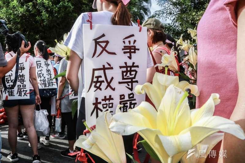 20190705-「長榮罷工」桃園市空服員職業工會5日苦行至凱道召開記者會。(簡必丞攝)