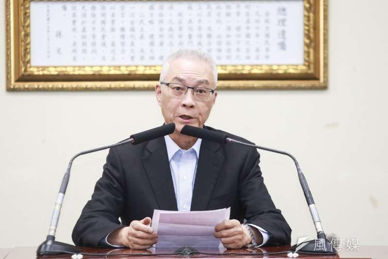 20190705-國民黨主席吳敦義5日出席說明總統初選民調相關事宜。(簡必丞攝)