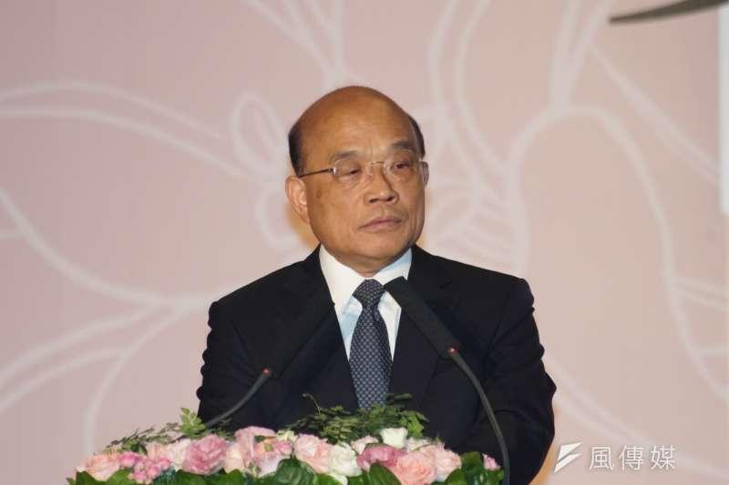 行政院長蘇貞昌7日出席「第3、4波平復司法不法刑事有罪判決撤銷公告儀式」。(盧逸峰攝)