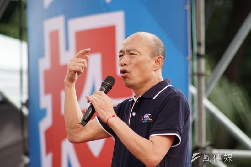 高雄市長韓國瑜(見圖)說,總統蔡英文有機會為人民做事,為什麼不好好做?「打破我的禿頭,我也想不出來。」(盧逸峰攝)