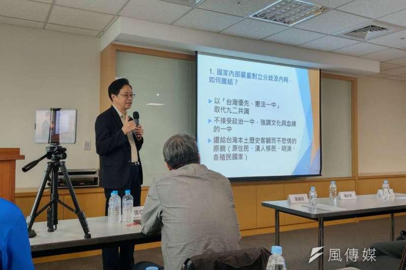 前行政院長張善政9日表示,對於兩岸,他的論述是「台灣優先、憲法一中」。(潘維庭攝)