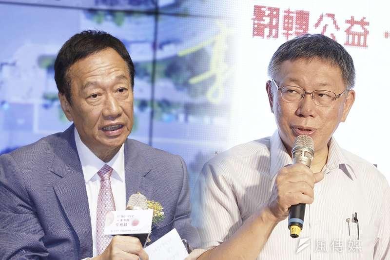 台灣政壇目前最夯的話題,就是台北市長柯文哲(右)、前立法院長王金平、鴻海前董事長郭台銘(左)第三勢力的合縱連橫。(資料照,盧逸峰攝)