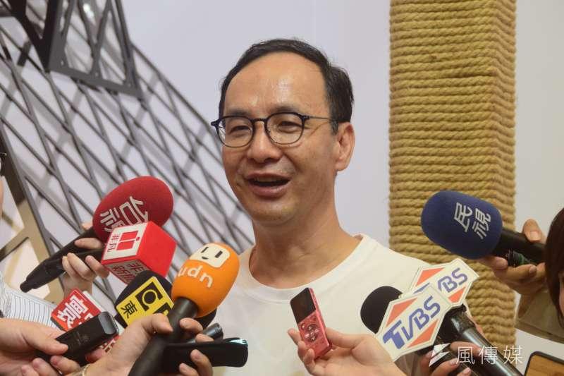 前新北市長朱立倫回應國民黨初選民調等相關問題。(吳俊廷攝)