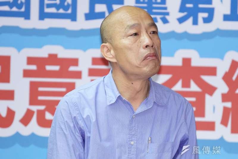 韓國瑜雖在國民黨總統初選民調勝出,表情卻顯凝重。(資料照,盧逸峰攝)