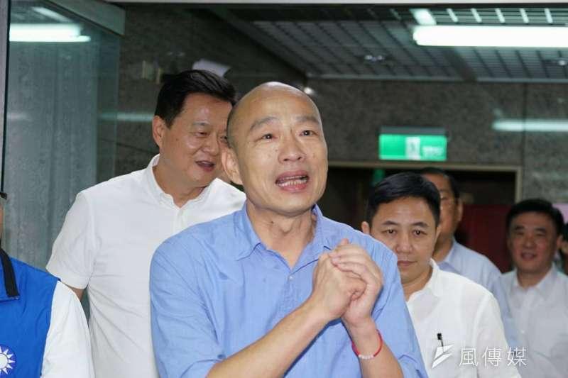 高雄市長韓國瑜15日出席國民黨總統初選民調結果公布記者會。(盧逸峰攝)
