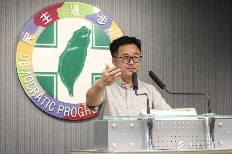 民進黨秘書長羅文嘉(見圖)說,去年11月24日是韓的顛峰,從那天後,韓國瑜政見沒有實現,只會往下走。(陳品佑攝)
