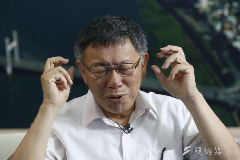 苦惱、小閉眼 20190716_台北市長柯文哲16日接受風傳媒和新新聞專訪。(郭晉瑋攝)