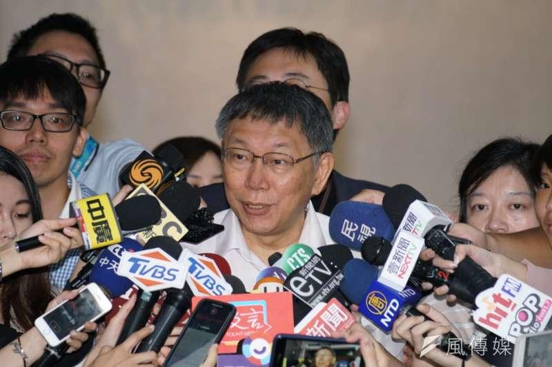 台北市長柯文哲16日在臉書上表示有「重大宣布」,要大家唯一支持「熊讚」。(資料照,盧逸峰攝)