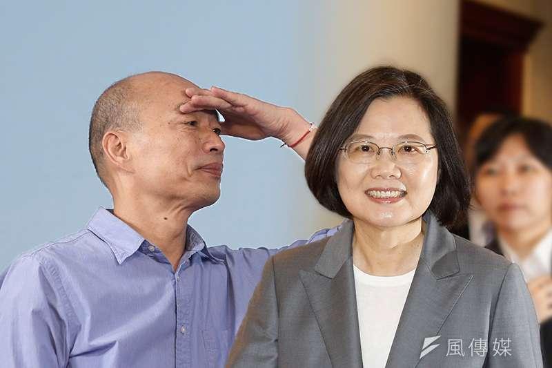 TVBS最新民調顯示,若2020總統大選為藍綠對決,總統蔡英文(右)將獲得50%支持度,國民黨候選人韓國瑜(左)支持度則減少4個百分點至38%。(資料照,郭晉瑋攝/風傳媒合成)