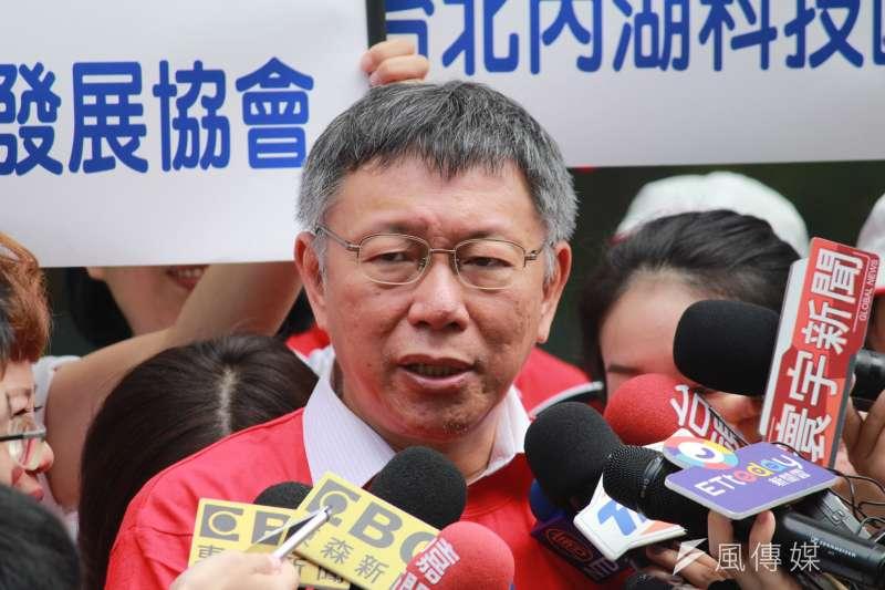 20190718-台北市長柯文哲18日上午前往內湖區出席內科千人捐血活動,會後受訪。(方炳超攝)
