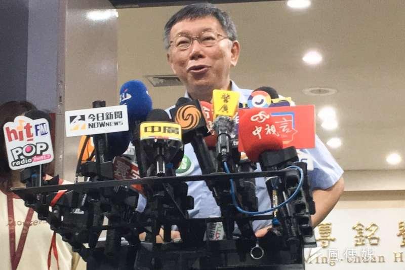 台北市長柯文哲19日上午於台北市政府接受媒體訪問。(方炳超攝)