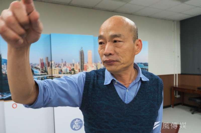 不滿高雄市長韓國瑜(見圖)施政,挺罷韓的餐廳「釣客食堂」重新開業,並決定針對46名網友提告。(資料照,新新聞林瑞慶攝)