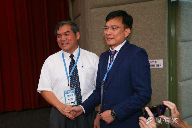 20190720-喜樂島聯盟20舉行政黨成立大會,並選出羅仁貴為第一屆黨主席(左)。(顏麟宇攝)