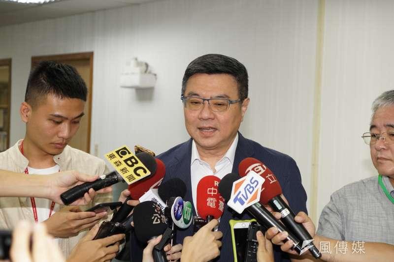 民進黨主席卓榮泰指出,紅色滲透導致台灣社會不安定。(盧逸峰攝)