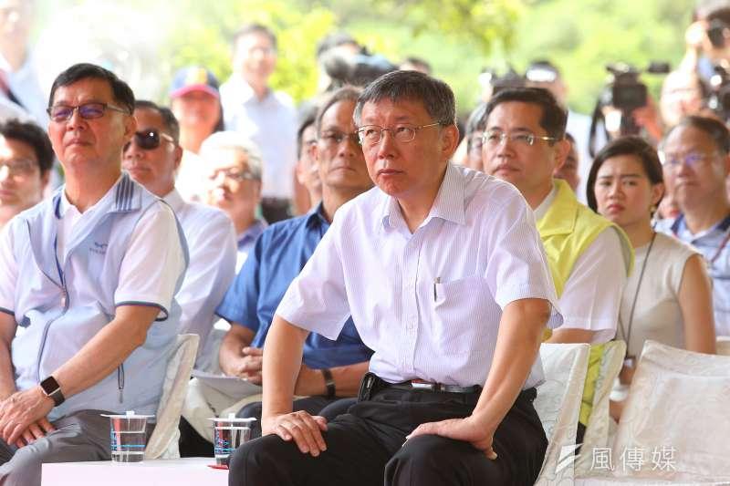 台北市長柯文哲24日出席翡翠水庫翡翠原水管動土典禮。(顏麟宇攝)