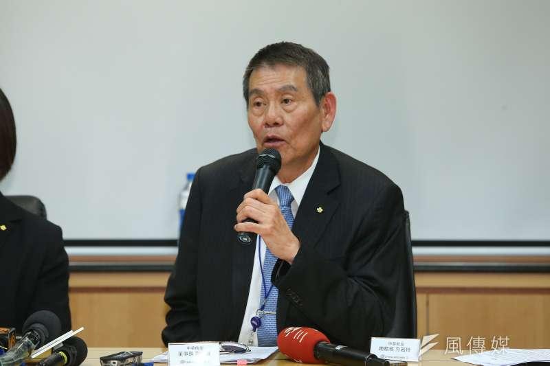 華航董事長謝世謙(見圖)日前召開記者會,針對總統專機免稅菸品銷售事件說明。華航28日再公布新數據。(資料照,顏麟宇攝)