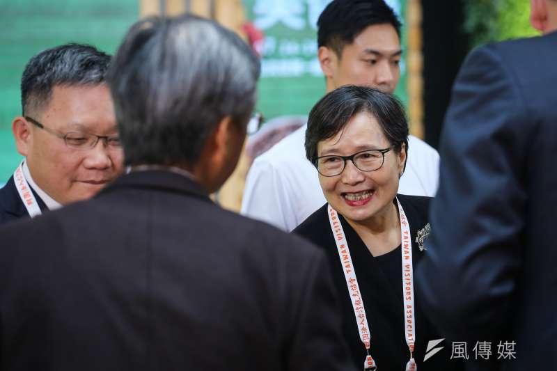 華膳空廚董事長、台灣觀光協會會長葉菊蘭26日出席「2019年台灣美食展」開幕儀式,未對國安局走私菸品案有任何回應。(陳品佑攝)