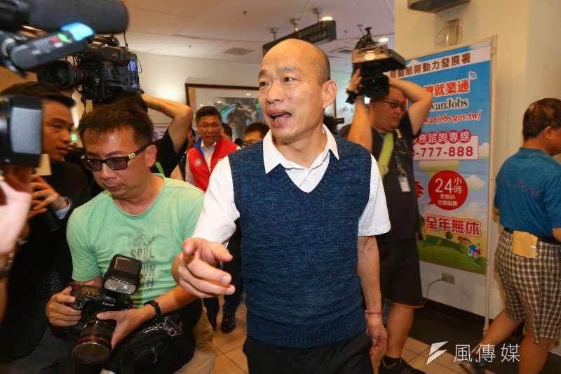 針對香港近日反送中「三罷」行動,高雄市長韓國瑜(見圖)表示,香港在流血,民進黨卻在補血。(資料照,顏麟宇攝)
