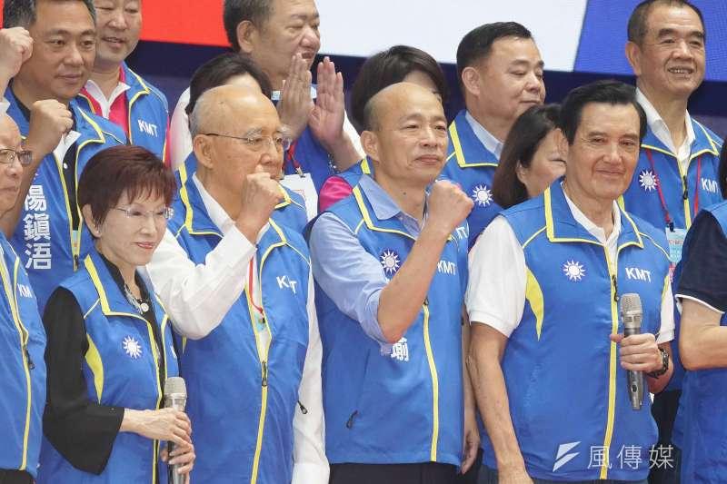 國民黨初選結束紛爭還沒結束。圖為全代會,前主席洪秀柱(左起)榮譽主席吳伯雄、高雄市長韓國瑜、前總統馬英九出席。(盧逸峰攝)
