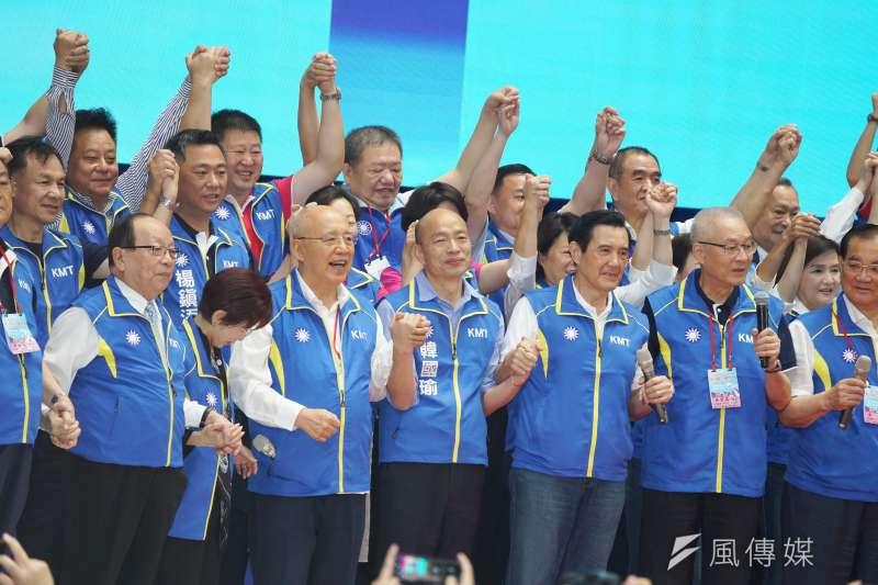 20190728-國民黨全代會,韓國瑜與各前主席上台造勢。(盧逸峰攝)