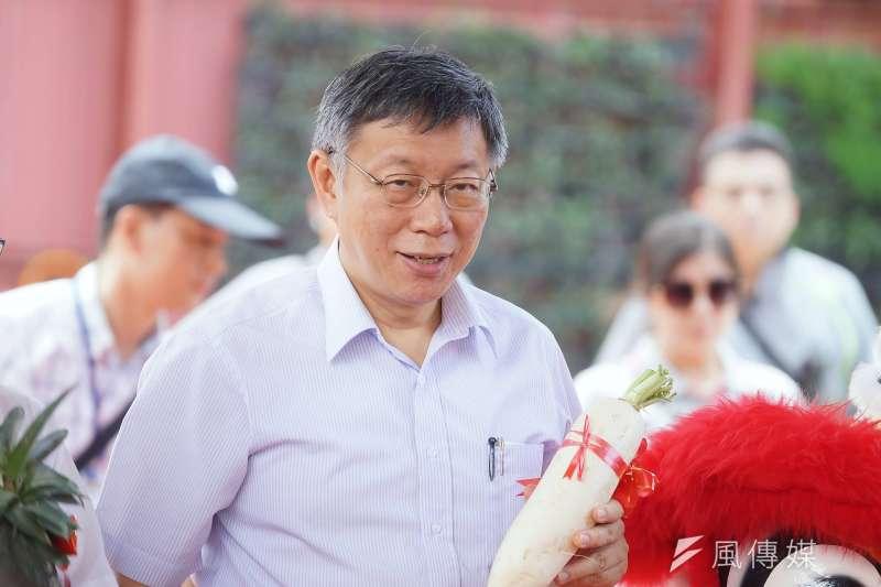 台北市長柯文哲(見圖)擬組「台灣民眾黨」,蔣渭水家族後代蔣理容晚間直嗆「柯文哲組黨只有一個目的——要選總統」。(資料照,盧逸峰攝)