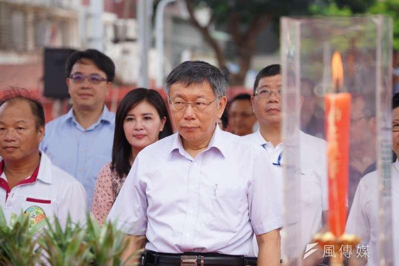 台北市長柯文哲29日出席成功市長改建工程動工典禮,對於是否參選2020總統大選,仍未正面回應。(盧逸峰攝)