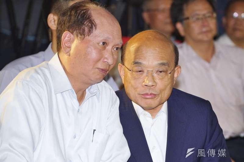 行政院長蘇貞昌自許每天批很多公文,卻被前長官陳水扁吐槽。(資料照片,盧逸峰攝)