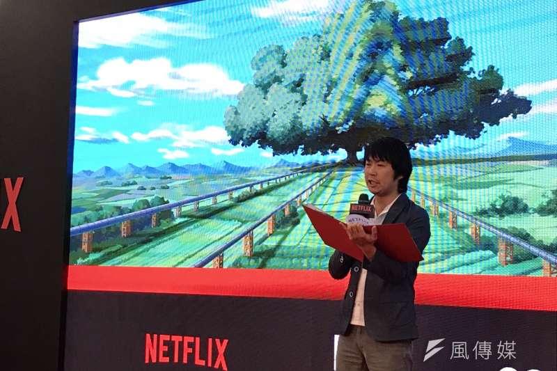 台北漫畫博覽1日舉辦「台灣原創力」座談,邀請Netflix首席動漫製作人櫻井大樹(見圖)與台灣5號影像工作室、西基動畫團隊對談。(吳尚軒攝)