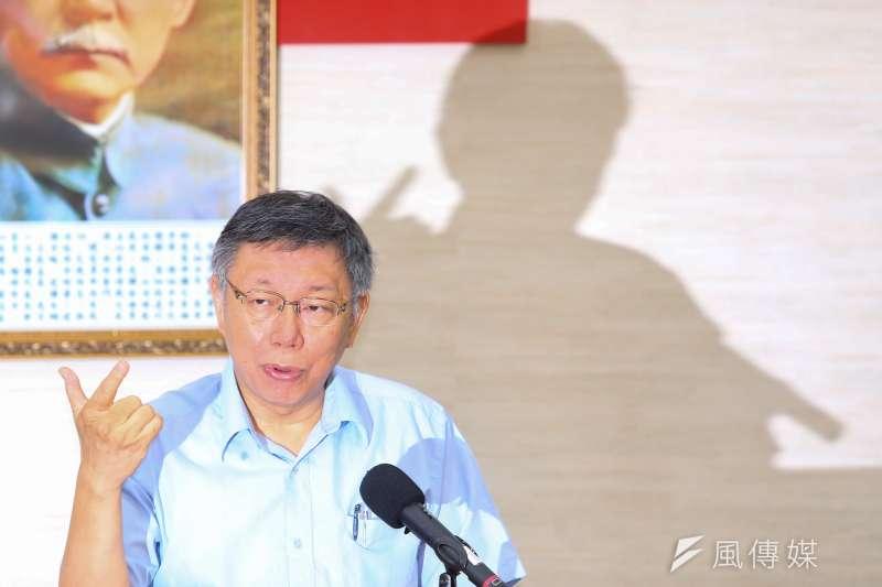 台北市長柯文哲(見圖)1日批評內政部走漏組黨消息,內政部長徐國勇親上火線回覆,表示籌組政黨是公開資訊,並不是秘密。(顏麟宇攝)