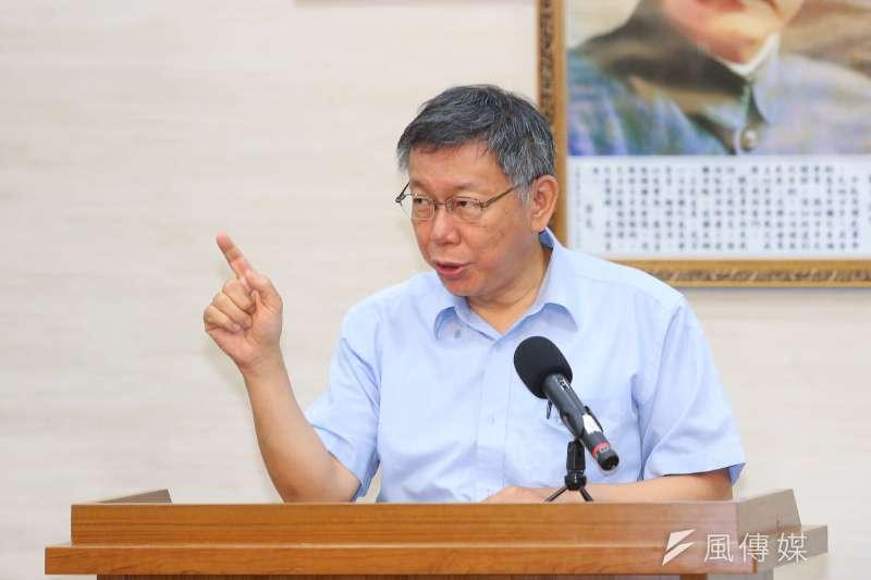 20190801-台北市長柯文哲1日針對組黨事宜接受媒體聯訪。(顏麟宇攝)