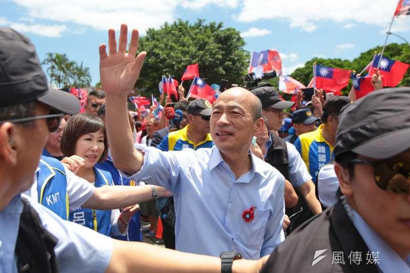 20190803-國民黨總統參選人韓國瑜3日至桃園龜山壽山巖參拜。(顏麟宇攝)