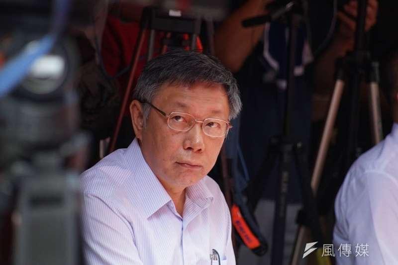 台北市長柯文哲今(6)日舉行「台灣民眾黨」創黨大會,「黨名」成了民進黨給他的第一道下馬威。(盧逸峰攝)