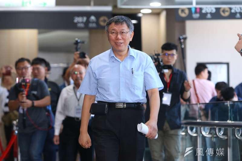 台北市長柯文哲(見圖)9日表示,鴻海創辦人郭台銘與美日中關係,在他這已「大概可以」過關。(資料照,顏麟宇攝)