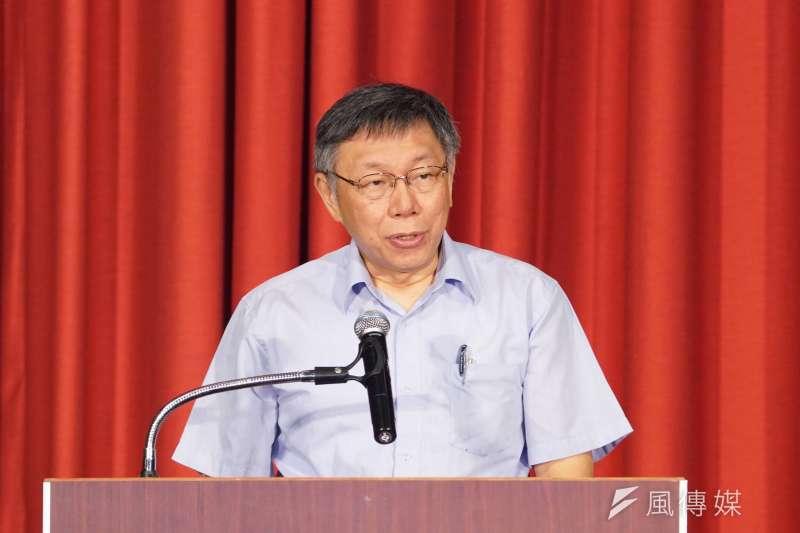 台北市市政顧問蔡壁如透露,台北市長柯文哲(見圖)之所以會成立台灣民眾黨,是因為「國師們」的鼓勵。(盧逸峰攝)