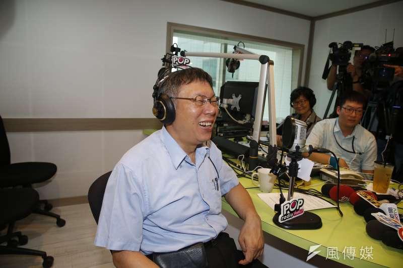 台北市長柯文哲中午出席台灣民眾黨成立大會後,下午接受廣播節目專訪。(方炳超攝)