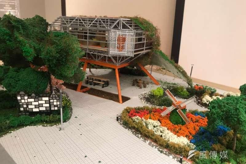 20190808-循環建築白皮書記者會現場展示台中花博荷蘭館模型。(廖羿雯攝)