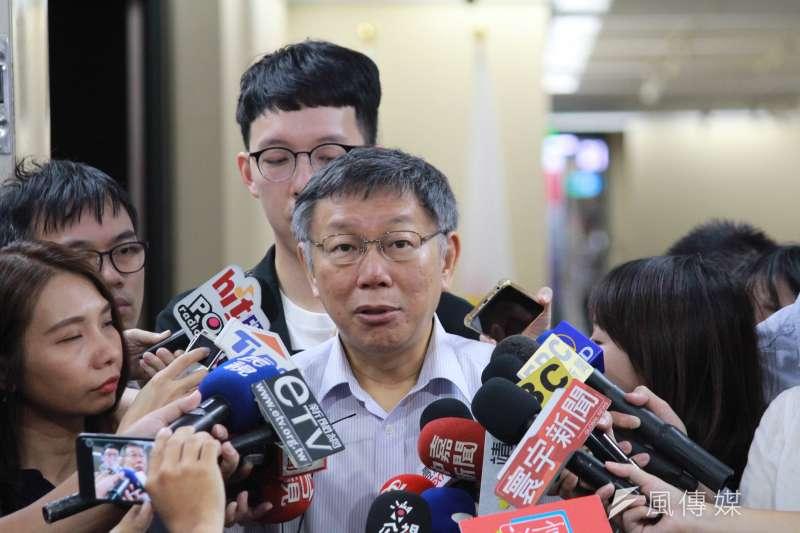 20190808-台北市長柯文哲8日接受媒體聯訪。(方炳超攝)