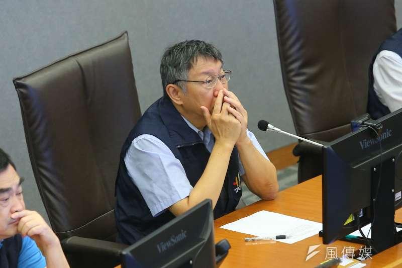 20190809-台北市長柯文哲9日一早便前往台北市災害應變中心,聽取利奇馬颱風工作會報。(顏麟宇攝)