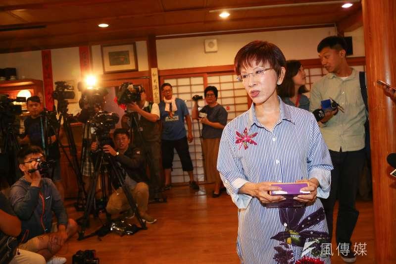 20190809-前立法院副院長洪秀柱9日接受媒體聯訪,說明入籍台南參選立委事宜。(顏麟宇攝)
