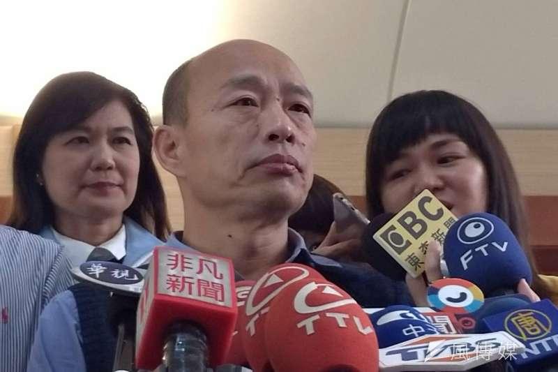 針對拿政治獻金買酒和保養品的指控,高雄市長韓國瑜嚴厲強調「有收就退出政壇!」。(資料照,徐炳文攝)