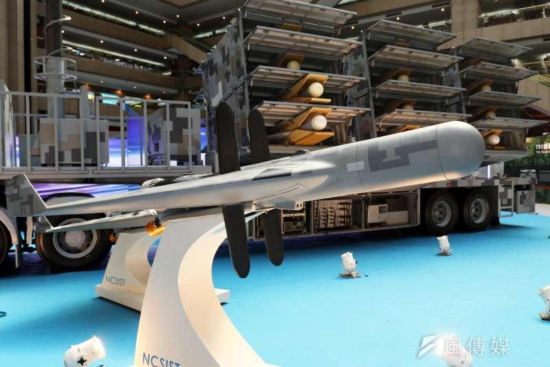 20190814-兩年一度的「台北國際航太暨國防工業展」將於明日正式登場,國防部14日下午舉行展前記者會。圖為反輻射無人機。(蘇仲泓攝)