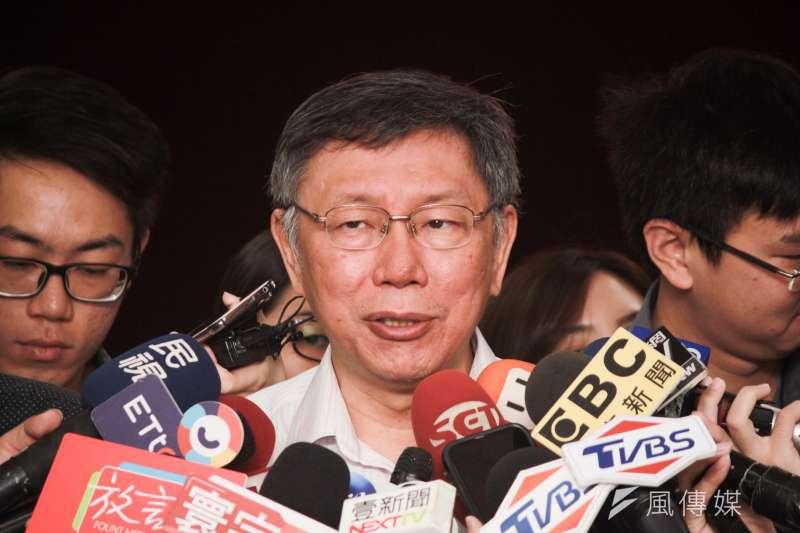 台北市長柯文哲14日出席內湖區里長座談,受訪時談及香港反送中問題。(方炳超攝)